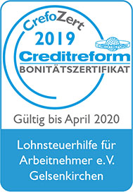 Lohnsteuerhilfeverein Bonitätszertifikat Crefozert 2020 - Bild vom Zertifikat.