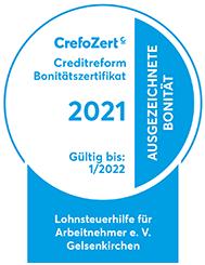 Crefozert 2021 für den Lohnsteuerhilfeverein - das Zertifikat im Bild.